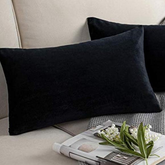 new black velvet lumbar pillow cover 12x20