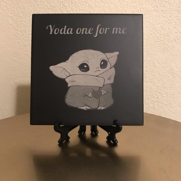 baby yoda custom ceramic tile laser engraved