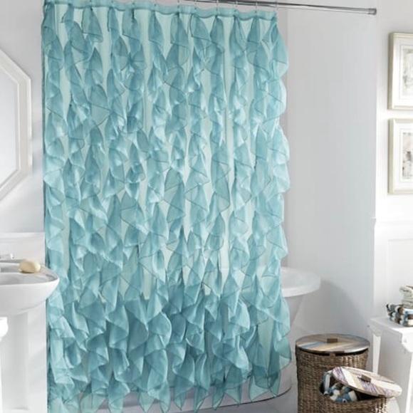 cascade seafoam ruffled waves shower curtain