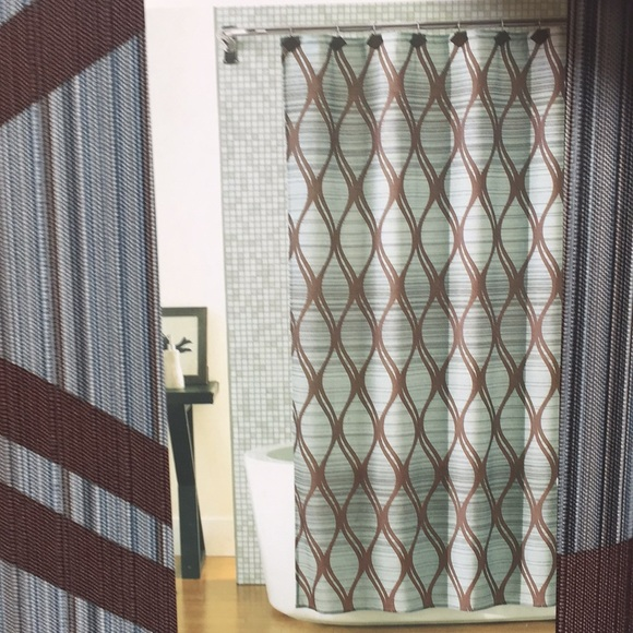 new shower curtain blue brown fabric 70 x 72
