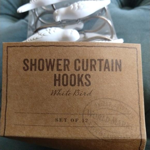 new world market white bird shower curtain hooks