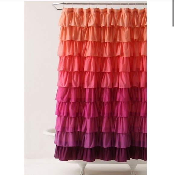 anthropologie pink ombre ruffle shower curtain