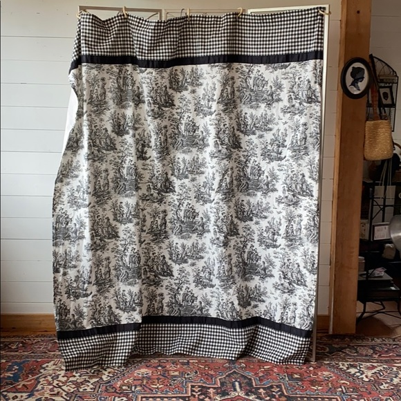 waverly rustic toile cotton duck shower curtain