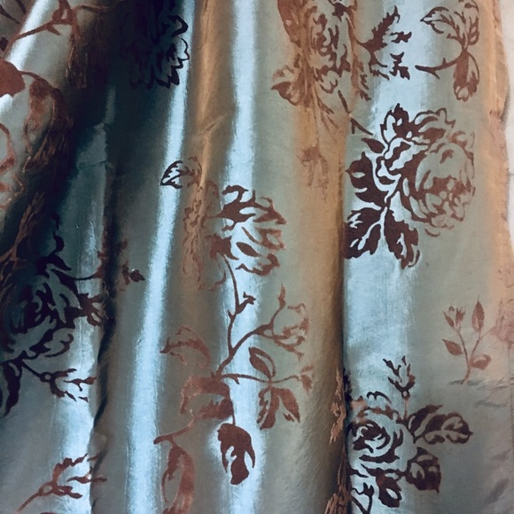 brocade blue shimmer shower curtain brown roses