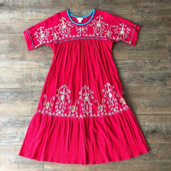 go softly patio fuchsia embroidered house dress l