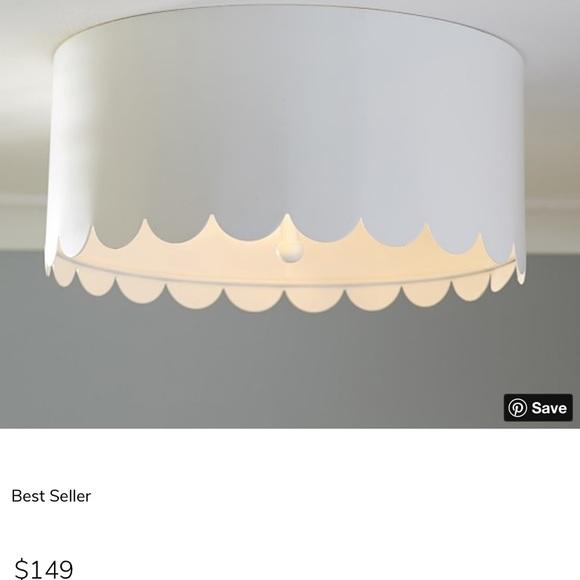 pottery barn white scalloped ceiling light