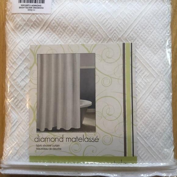m style diamond matelasse fabric shower curtain