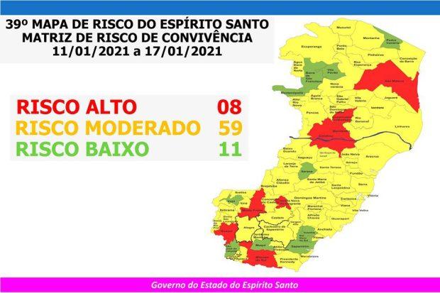 Guaçuí, Mimoso e Muniz Freire entram para o risco alto da Covid-19