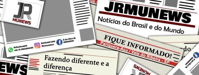 Ilustração com jornais com o título JRMUNEWS