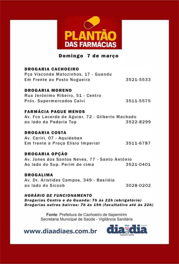 Veja as farmácias de plantão em Cachoeiro neste domingo, dia 7
