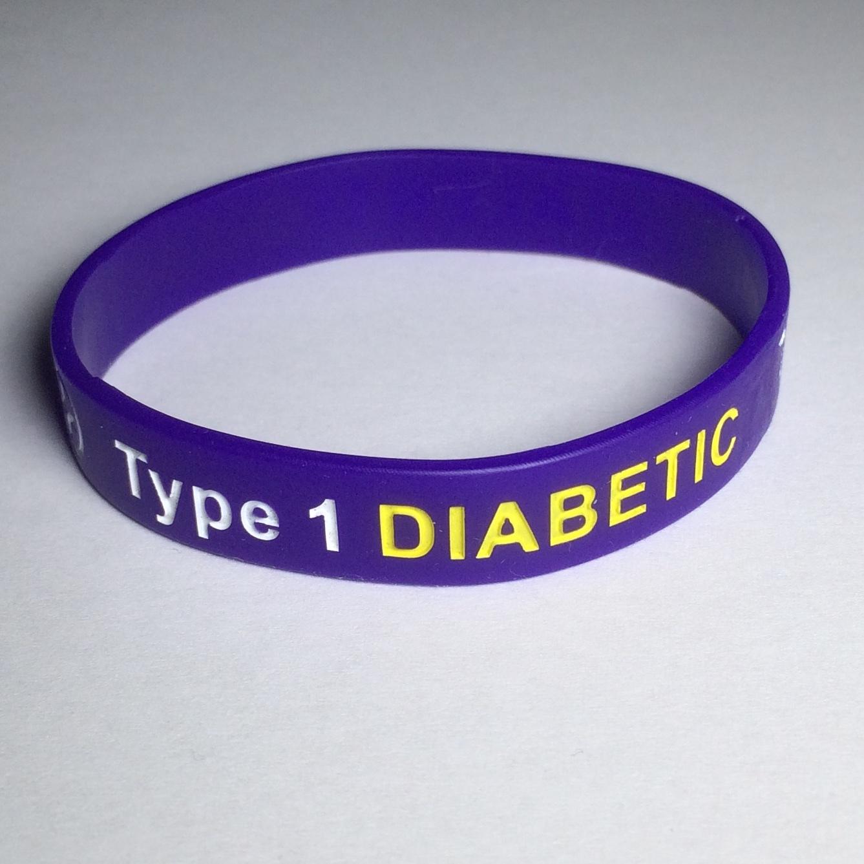 Type 1 Diabetic medical ID wristband.