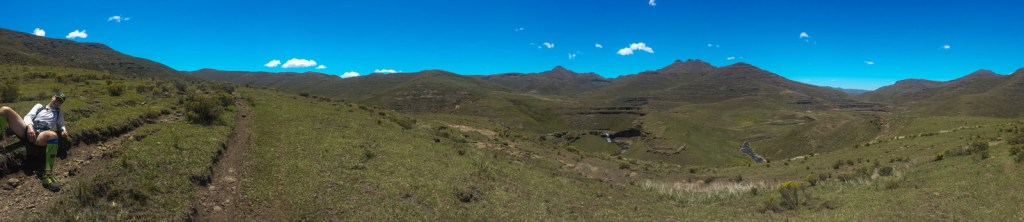 Christian Schmidt chilling on trail run Lesotho panorama Diabetes Adventure