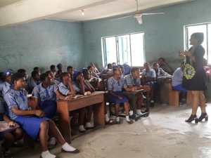 Mercy Nnabunde in a school in Nigeria