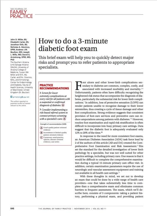 3 minute foot exam