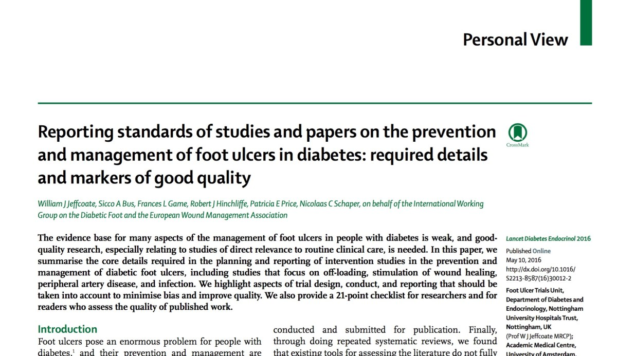 Reporting Standards for Diabetic Foot Ulcer Studies: Toward a Common Language