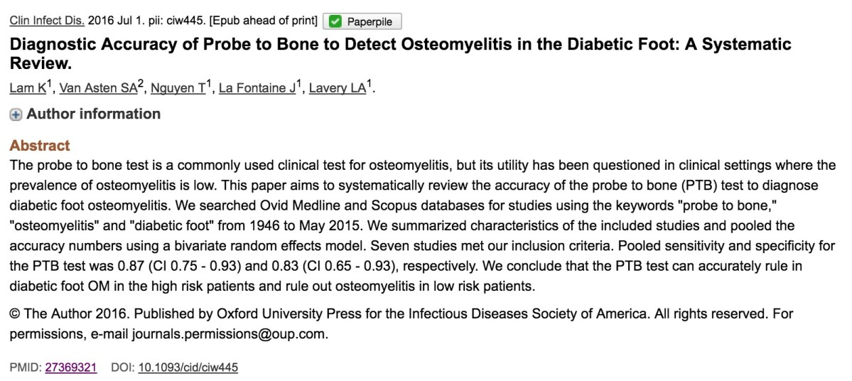 Diagnostic Accuracy of Probe to Bone to Detect Osteomyelitis in the Diabetic Foot: A Systematic Review.