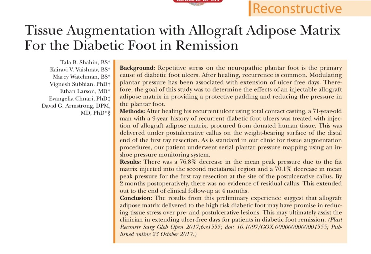 Tissue Augmentation with Allograft Adipose Matrix For the Diabetic Foot in Remission