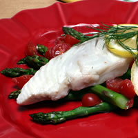Asparagus, Thyme and Tomato Halibut