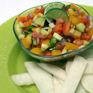 Go Tropical with Papaya Salsa and Jicama Chips