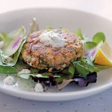Alaska Salmon Cakes with Yogurt Dill Sauce