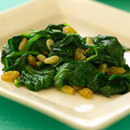 Baby Spinach With Golden Raisins and Pine Nuts