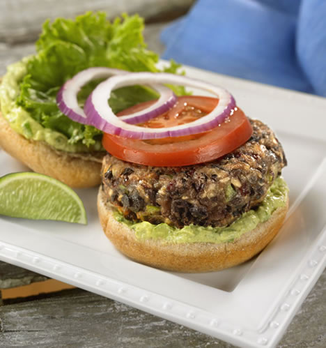 Black Bean Burgers with Avocado-Lime Mayo Recipe Photo - Diabetic Gourmet Magazine Recipes