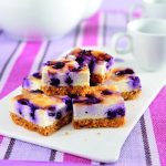 Blueberry Cheesecake Bars recipe photo from the Diabetic Gourmet Magazine diabetic recipes archive.