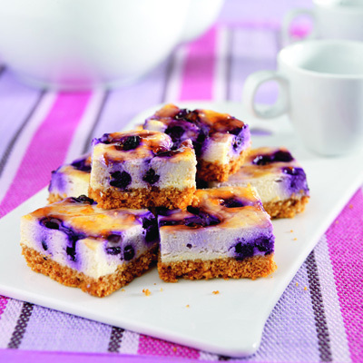 Blueberry Cheesecake Bars Recipe Photo - Diabetic Gourmet Magazine Recipes