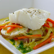 Braised Cod With Leeks Recipe Photo - Diabetic Gourmet Magazine Recipes