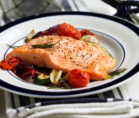 Broiled Rainbow Trout with Lemon Oil and Oven-Grilled Vegetables Recipe Photo - Diabetic Gourmet Magazine Recipes