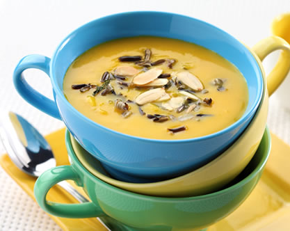 Butternut Squash and Apple Soup with Toasted Almonds and Wild Rice