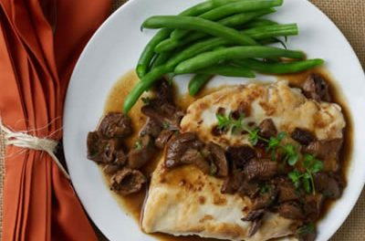 Chicken Paillards with Porcini-Cider Sauce