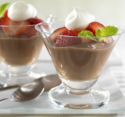 Chocolate Pudding with Fresh Strawberries