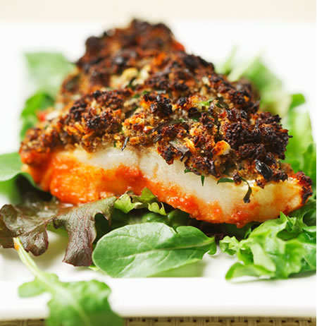 Cod with Mushroom-Herb Duxelles Recipe Photo - Diabetic Gourmet Magazine Recipes