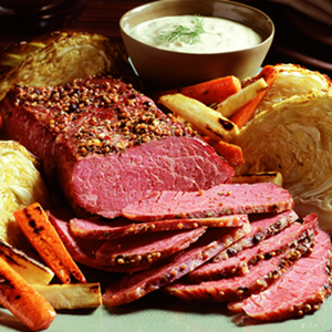Corned Beef Brisket with Roasted Vegetables and Lemon-Mustard Sauce Recipe Photo - Diabetic Gourmet Magazine Recipes
