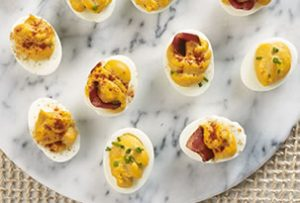 Deviled Eggs with Bacon and Barbecue recipe photo from the Diabetic Gourmet Magazine diabetic recipes archive.