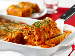 Festive Lasagna Roll-Ups with Salsa Rosa Sauce Recipe Photo - Diabetic Gourmet Magazine Recipes