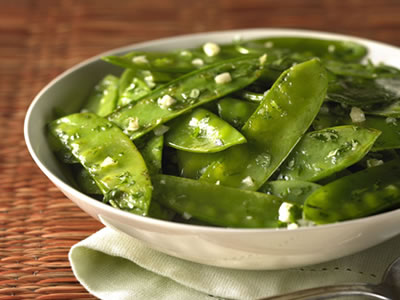 Garlic Snow Peas With Cilantro Recipe Photo - Diabetic Gourmet Magazine Recipes