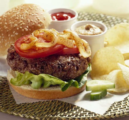 Grilled Onion Burger Recipe Photo - Diabetic Gourmet Magazine Recipes