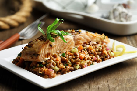 Grilled Salmon Over Lentil Salad with Walnut Vinaigrette Recipe Photo - Diabetic Gourmet Magazine Recipes