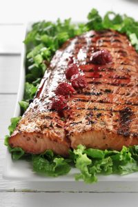 Grilled Salmon with Raspberry-Dijon Vinaigrette recipe photo from the Diabetic Gourmet Magazine diabetic recipes archive.