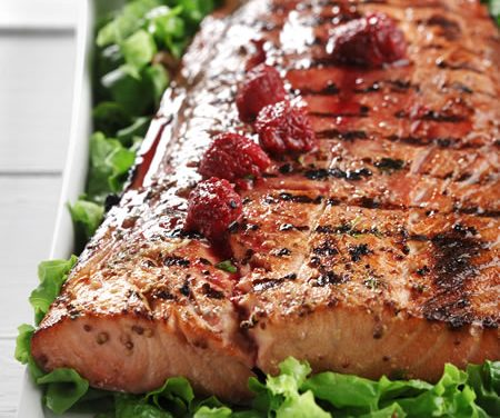Grilled Salmon with Raspberry-Dijon Vinaigrette