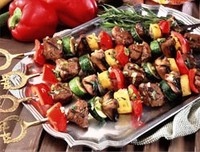 Grilled Turkey, Portabella Mushrooms and Vegetable Kebabs Recipe Photo - Diabetic Gourmet Magazine Recipes