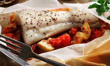Halibut en Papillote with Roasted Tomato-Artichoke Ragout