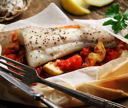 Halibut en Papillote with Roasted Tomato-Artichoke Ragout Recipe Photo - Diabetic Gourmet Magazine Recipes