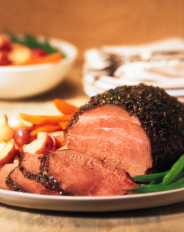 Herb-Crusted Sirloin Tip Roast with Creamy Horseradish-Chive Sauce Recipe Photo - Diabetic Gourmet Magazine Recipes
