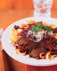 Italian Braised Parmesan Beef with Wild Mushroom Sauce recipe photo from the Diabetic Gourmet Magazine diabetic recipes archive.
