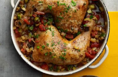 Moroccan Chicken with Eggplant-Zucchini Ragout