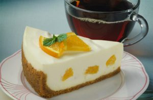 No-Bake Orange Cream Cheesecake recipe photo from the Diabetic Gourmet Magazine diabetic recipes archive.