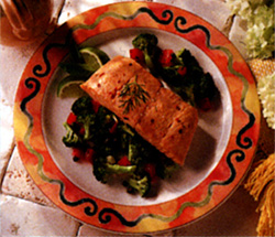 Pacific Ocean Salmon with Fresh Vegetables Recipe Photo - Diabetic Gourmet Magazine Recipes